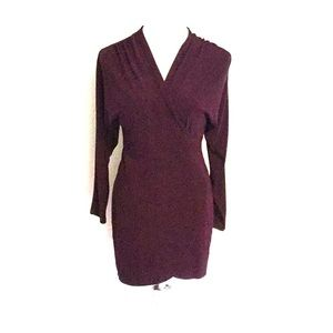 Wine Faux Wrap Dress